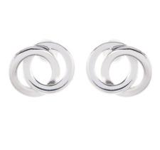 Argento Vivo Womens Silver Interlocking Circles Stud Earrings 0712