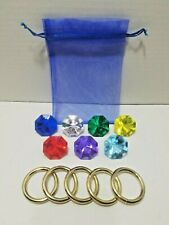 Sonic The Hedgehog 7 Chaos Emeralds And 5 Power Rings With A Drawstring Bag