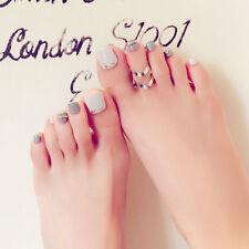 24Pcs Fashion Gray Short False Fake Toe Nails Tips Toes Nail Art Tool Artificial