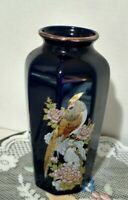 Vintage Blue Gold Gilded Japanese Peacock Pheasant Ceramic Vase 6""