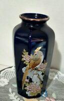 "Vintage Blue Gold Gilded Japanese Peacock Pheasant Ceramic Vase 6"""