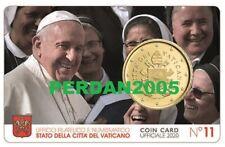 VATICAN 2020 50 CENTS BU COINCARD N° 11 PAPE FRANCIS VATICANO VATIKAN ВАТИКАН