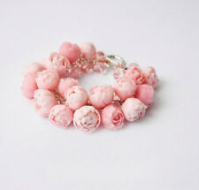 Flower peony pink wedding bridal bracelet HANDCRAFTED party Fashion polymer clay
