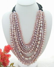 "18""-24"" 14 Rows Purple Pearl  Statement Necklace"