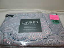 Ralph Lauren Damask PAISLEY Full/Queen Duvet Cover Set ~ Pink, Tan, Navy, White