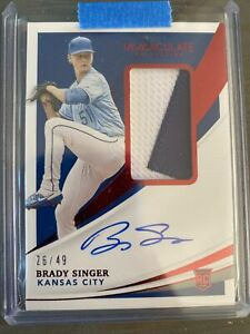 2021 Panini Immaculate Red Brady Singer RC RPA Jersey Patch Auto #26/49 Royals