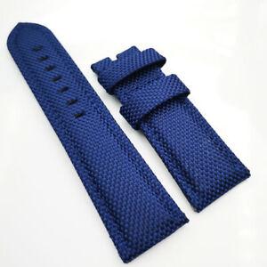 22mm Blue Canvas Genuine Leather Blue Stitch PAM Strap for RADIOMIR LUMINOR