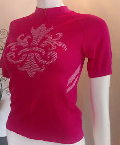 SheBeest XS Raspeberry Pink Short Sleeve HalfZip Cycling Jersey Top Crest Design