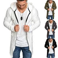 Mens Zip Up Hoodie Sweater Jumper Slim Coat Casual Cardigan Long Jacket Outwear