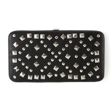 Black Faux Leather and Pyramid Studs Hardcase Wallet - NWT