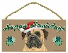 """""Happy Howlidays"" Wooden Sign - Bull Mastiff"