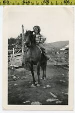 Vintage 1940's HORSE photo / Farm COWGIRL on Pal at Old Ranch Wearing Cowboy Hat