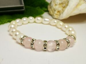 Love & Compassion UK Pearl and Pink Crystal Healing Bracelet Gift Boxed