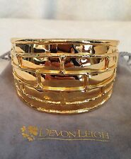 NEW DEVON LEIGH Gold Tone Statement Cuff Bracelet, LARGE SIZE