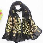 Fashion Women Gold Peacock Flower Print Long Soft Scarf Wrap Shawl Scarves Stole
