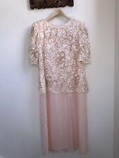 Vintage 1980s Miss Elliette 16 Blush Pink Floral Delicate Long Formal Dress