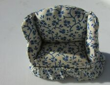 "Dollhouse Sofa Upholstered 1930's Blue Floral 2"" Living Room Micro Vintage"