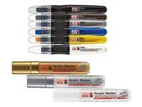 3 matte Acrylmalstifte 6 Wachsmalstifte Marker Wachswichtel Stift Wachsmaler