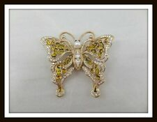 VTG Gold-tone Butterfly Brooch w/Acrylic, Faux Pearl & Rhinestone Accents #6645