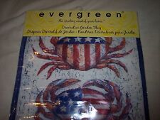 "Evergreen Garden Flag,  ""Patriotic Crab""  12.5"" x 18""  Red/White/Blue"