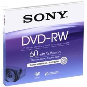 SONY 8cm DVD-RW Single Disc 60min Doppelseitig 2.8GB JEWEL DMW60B NEU 001-666