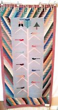 "Vtg ZAPOTEC Mexico rug tapestry birds wool 73"" x 37"" fringe EUC La Unica Cosa"