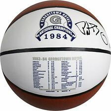 Patrick Ewing Signed Georgetown Hoyas 1984 National Champions Stat Logo Ball