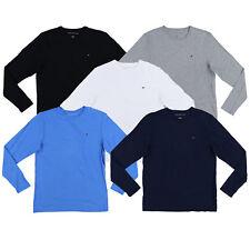 Tommy Hilfiger Masculino T-shirt Gola Careca Manga Longa Casual logotipo Bandeira Tee Novo Novo com etiqueta