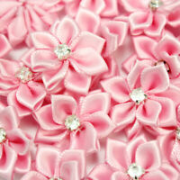 40Pcs Crystal Rhinestone Decoration Satin Ribbon Flower Appliques Crafts Pink