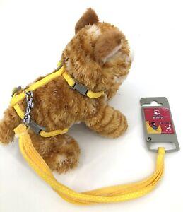 Small Pet Adjustable Harness & Leash, Safety Walking Lead (Yellow Polka dot)