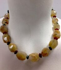 """Necklace Citrine Beades With Carnelian And Green Beads Garnet In Clasp  16"""""""