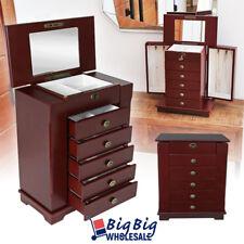 Wooden Jewelry Treasure Amoire Storage Cabinet Organizer Case Drawer W/ Mirror