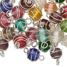 50 Assorted Color Silver Wire Wrapped 7mm - 8mm Round Glass Link Beads w/ Loops