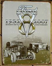 Ford Deuce V8 TIN SIGN hot rod rat street garage car vtg metal wall decor 1436