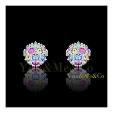 18k White Gold EP 0.36ct Brilliant Cut Multistones Crystal Ball Stud Earrings