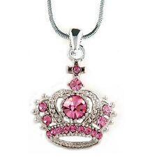 Pink w Swarovski Crystal PRINCESS QUEEN ~CROWN Cross Favor Pendant Necklace Xmas