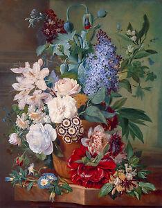 Albertus Jonas Brandt - Flowers in a Terracotta Vase, Art Poster, Canvas Print