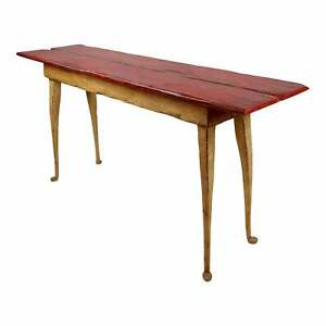 Richard Mulligan Country Farmhouse Pine Console Table distressed Red