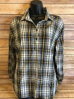Womens The North Face Long Sleeve Henley Shirt Size Large Blue Yellow Plaid Top