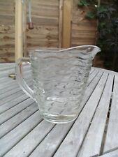 ATTRACTIVE HEAVY VINTAGE GLASS LEMONADE JUG VASE WITH WAVY RIDGED DESIGN