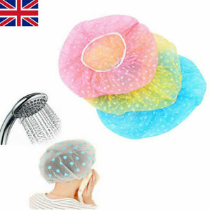 Elastic Waterproof Shower Cap Hat Bath Head Hair Cover Salon Shower Cap UK 1/3PC