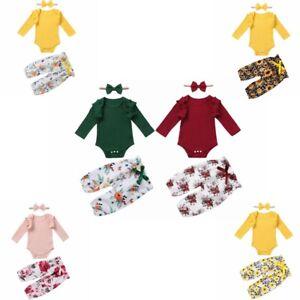 Infant Baby Girls Romper Outfits Bowknot Waist Flower Print Pants Headband Set