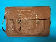 Authentic Vintage Brown Small Leather Child's School Satchel Shoulder Laptop Bag