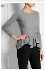 ALEXANDER McQUEEN Women's Gray Blouse Peplum  Wool Long-Sleeve Sz M $1,125