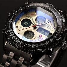 Eightgill Shark Mens LCD Full Black Stainless Steel Date Quartz Army Sport Watch