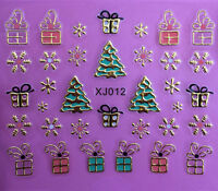 Christmas Tree GOLD Snowflakes Gifts Xmas 3D Nail Art Stickers Decals