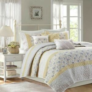 6pc Yellow & White Cottage Chic Coverlet Quilt Set AND Decorative Pillows