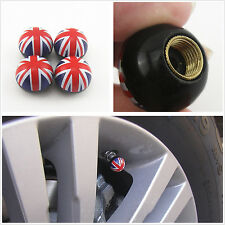 4 Pcs Union Jack UK British Flag Ball Wheel Tire Valve Stems Air Dust Caps Cover
