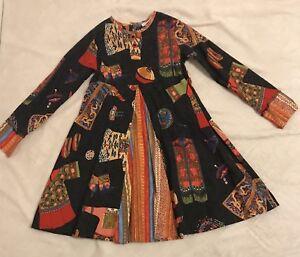 Stunning Vintage E. Fluff Girls Beautiful Asian Print Dress Size 6 COTTON DRESS