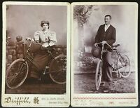 1880s LADY with BICYCLE KANSAS CITY, KS & GENTLEMAN with BICYCLE FAIRBURY, IL